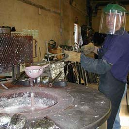 Cathouse foundry pots heated for the melting of new metal