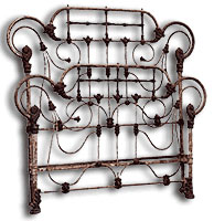 angel antique iron bed frame before conversion and restoration