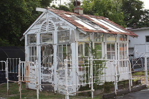 how to build a greenhouse with old doors