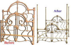 Antique Iron Bed Before and After Image 1 (22260 bytes)