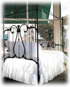 Antique Iron Crown Canopy Bed