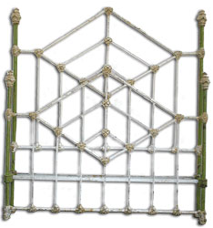 Art Deco Antique Iron Bed Frame Style featuring Diamonds